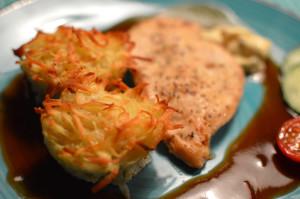 Potatismuffins och rödvinssås