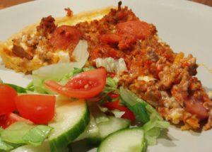 Köttfärspaj med choritzo